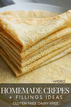 Learn how to make gluten free homemade crepes in a blender – thin, soft and can be served as sweet or savory with a variety of fillings. - Gluten Free Dairy Free Crepes + Sweet And Savory Fillings Gluten Free Baking, Gluten Free Desserts, Vegan Desserts, Sin Gluten, Crapes Recipe, Homemade Crepes, Gluten Free Waffles, Dairy Free Breakfasts, Allergy Free Recipes