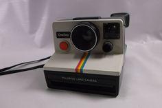 Vintage Poloroid One Step Land Camera SX-70 White Rainbow Stripe Clean & Nice.epsteam etsy 50