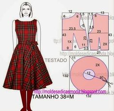 Moldes Moda por Medida: Easy to make retro inspired dress. Diy Clothing, Sewing Clothes, Barbie Clothes, Dress Sewing Patterns, Clothing Patterns, Fashion Sewing, Diy Fashion, Robe Diy, Costura Fashion