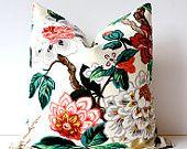 """Modern Emerald Pink Decorative Designer Pillow Cover 18"""" Accent blossoms oriental floral chinoiserie gold white brown red green. $42.00, via Etsy."""