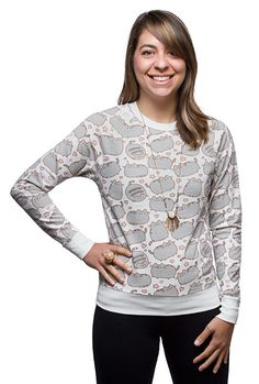 Pusheen is all over this sweater to warm not only your heart, but your entire torso! 100% cotton pullover ladies sweatshirt features the Internet cat that reminds us of the joys of pet ownership, laziness, and food.