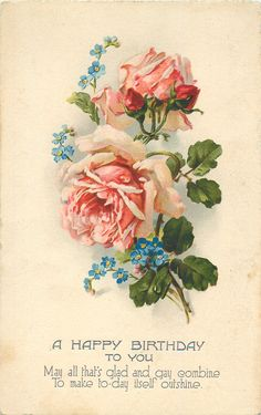 two pink roses & two buds, blue forget-me-nots