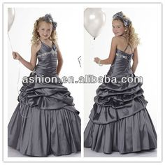 FG-011 Cute halter neckline a line skirt cheap little girls pageant dresses from china