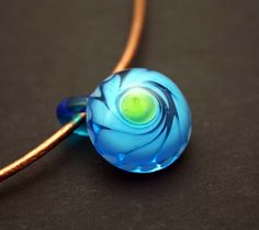 Clear Blue Sunshine Lampwork Off Mandrel Pendant by blancheandguy, $18.00