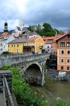 Bridge over river Mur Murau, Styria, Austria Beautiful Buildings, Beautiful Places, Great Places, Places To See, Places Around The World, Around The Worlds, Visit Austria, Central Europe, Adventure Is Out There