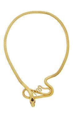 Sanjay Kasliwal Garnet Crested Snake Necklace - Preorder now on Moda Operandi