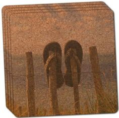 """Custom & Cool {4"""" Inches} Set Pack of 4 Square """"Grip Texture"""" Drink Cup Coaster Made of Cork w/ Cork Bottom & Travel Souvenir Beach Sandals Ocean Days Design [Brown, Green, Blue & Beige Colors]"""