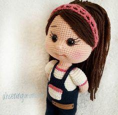 DESTIN Crochet Toys / Amigurumi Doll - Crochet Doll for Daughter, Gift for Children, Gift for Baby, Gift for Sister, Baby Shower Gifts Baby girl doll with jumpsuit. Baby Girl Dolls, Baby Girl Gifts, Crochet Santa, Crochet Baby, Crochet Toys Patterns, Stuffed Toys Patterns, Knitted Dolls, Crochet Dolls, Single Crochet Stitch