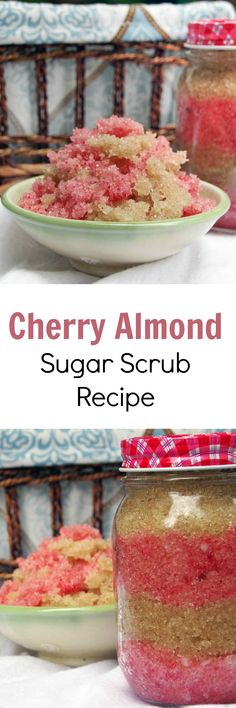 Cherry Almond Homemade Sugar Scrub Recipe for Body Looking for homemade sugar scrub recipes? This cherry almond sugar scrub recipe is the perfect solution to your shaving and exfoliating needs Sugar Scrub Homemade, Sugar Scrub Recipe, Homemade Soaps, Homemade Candles, Homemade Recipe, Diy Body Scrub, Diy Scrub, Bath Scrub, Bath Soap