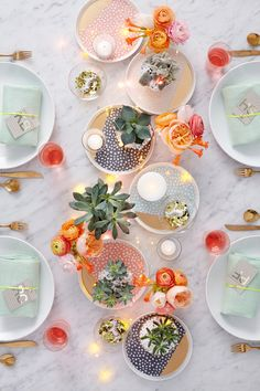 Favorite Centerpiece (these colorful appetizer plates from the new Oh Joy collection)
