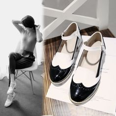 Womens Mary Jane Flat Oxford Buckle Flat Wing Tip New Oxford Fashion Pumps Shoes in Clothing, Shoes & Accessories, Women's Shoes, Flats & Oxfords | eBay
