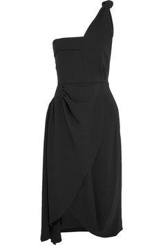 J.W.Anderson - One-shoulder Draped Crepe Dress - Black - UK12