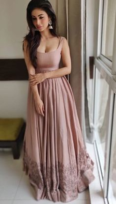 Indian Gowns, Indian Attire, Indian Ethnic Wear, Indian Outfits, Indian Designer Outfits, Designer Dresses, Mouni Roy Dresses, Simple Gowns, Kurti Designs Party Wear