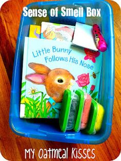 could make quiet time box for The Sweet Smell of Christmas that has scented playdough, and scented markers...