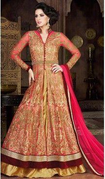 Deep Pink Color Net Fabric Designer Lehenga Kameez with Dupatta | FH447970439