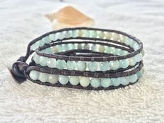Faceted Amazonite Wrap Bracelet -Double Leather Wrap Bracelet - Antique Brown Leather - Beachy Bracelet Gemstone Bracelet Amazonite Jewelry by PinaHina on Etsy https://www.etsy.com/listing/398651129/faceted-amazonite-wrap-bracelet-double