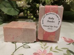 Natural Baby Powder Salt Bar. You will get one of these awesome salt bars.  5.5 oz    Soft powder notes with a undertone of rose, jasmine and violets.      INCI Ingredients: Lye, Distilled Water, Coconut Oil, Olive Oil, Shea Butter, Sea Salt, Fragrance Oil    sea salt is good for stress reducer, exfoliate, detoxifier.    coconut oil is good for anti-aging, vitamin e, moisturizing,     olive oil is good for anti-inflammatory    shea butter is good for antioxidants, healing properties…