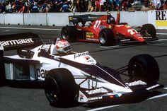 Nelson Piquet, Patrick Tambay, Brabham-BMW BT52, Ferrari 126C2B, Grand Prix of Detroit, Detroit street circuit, 05 June 1983. Nelson Piquet and Patrick Tambay on the starting grid of the 1983 Grand Prix in Detroit.
