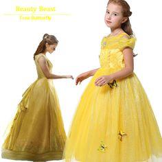 Children Girls Princess Belle Rapunzel Cinderella Sleep beauty Jasmine Dress Fantasia Vestidos Kids Cosplay Party Long Dresses