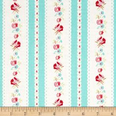 Tanya Whelan Lola Garden Ticking Blue from @fabricdotcom  Designed by Tanya Whelan for Free Spirit, this cotton print is perfect for quilting, apparel and home decor accents.  Colors include white, turquoise, pink and green.