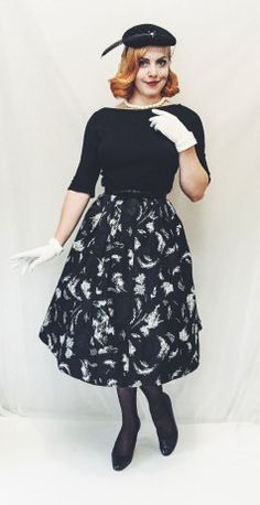 1950s Black Wool and Taffeta Dress Vintage white gloves Vintage white beaded clutch Vintage white pearls Vintage Black Veiled Hat with Rhinestones and Feather