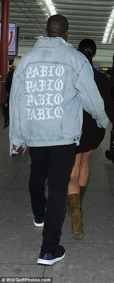 The Life Of Pablo: Kanye covered up with one of his 'The Life Of Pablo' denim jackets from his current merchandise collection