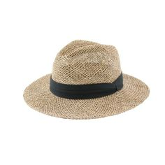 b298d9a4127 Men s classic wide brimmed natural straw sun hat