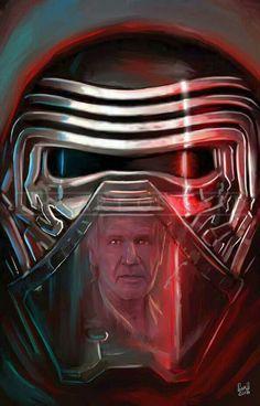 Kylo Ren and Han Solo Artists Print) - Star Wars Siths - Ideas of Star Wars Siths - Star Trek 2009, Star Wars Vii, Star Wars Love, Star Wars Kylo Ren, Star Wars Fan Art, Star War 3, Star Wars Pictures, Star Wars Images, Star Trek Enterprise