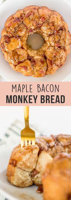 Maple Bacon Monkey Bread - Handle the Heat Breakfast Toast, Best Breakfast, Breakfast Ideas, Breakfast Time, Low Calorie Vegan, Breakfast Casserole With Biscuits, Breakfast Crockpot Recipes, Maple Bacon, Monkey Bread