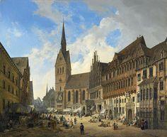 Domenico Quaglio d. J., MARKTKIRCHE ST. GEORGII ET JACOBI, MARKTPLATZ UND RATHAUS IN HANNOVER, Auktion 939 Alte Kunst, Lot 1281