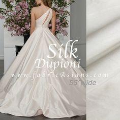 Ivory Silk Fabric.  White Dupioni. White Shantung. by fabricAsians