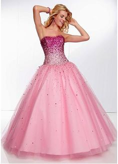 Stunning Tulle Strapless Neckline Floor-length Ball Gown Prom Dress. Like my homecoming dress junior year only a little brighter and more sparkly:) haha