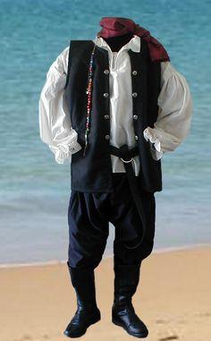 Renaissance Clothing for Men | Renaissance Pirate Mens Tunic Pants Costume Cotton Black Black All ...