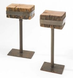 End Tables Reclaimed Barn Beam and Recycled Farm Metal $340.00