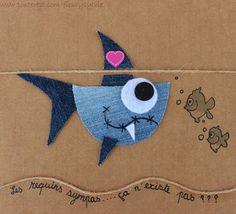 The collec '- Site toutpetitrien! Jean Crafts, Denim Crafts, Paper Crafts, Denim Art, Work With Animals, Recycle Jeans, Sewing Appliques, Felt Animals, Kids Cards
