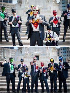 Superhero groomsmen! | The Wedding Scoop Spotlight: Grooms and Groomsmen Style Trends