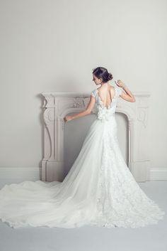 Harmonia - A-Line Lace Low Back Cap Sleeve Wedding Dress - Ophelia Contessa White on White White Wedding Dresses, Wedding Gowns, Bride Gowns, Cap Sleeves, Lace, Collection, Fashion, Wedding Frocks, Bridal Dresses