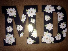 Flower painted wooden letters initials big little crafting