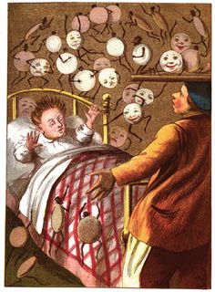 All the muffins and crumpets on the bed ran about all over Tommy, and danced round him without a word.    From the Tribulations of Tommy Tiptop by M.B., 1887