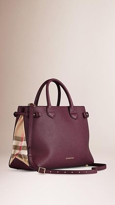 8220e40cca62 Elderberry The Medium Banner in Leather and House Check - Image 1 Purses  And Handbags