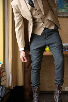 Bespoke tailoring by Artful Gentleman with H&M herringbone pants and Cole…