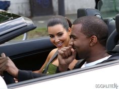 Kanye West really knows how to treat a lady as he takes girlfriend Kim Kardashian for a ride in a Lamborghini in Paris, France on June 17th, 2012.