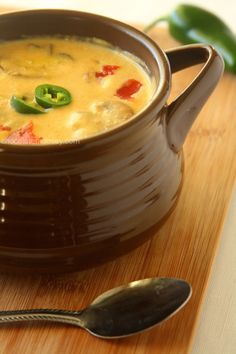 Roasted Jalapeno Soup -- I'm going to figure out a way to work extra-sharp cheddar cheese into this soup, now that would be delicious!