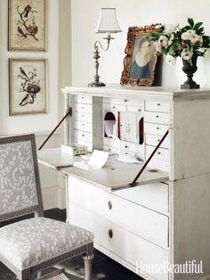 A secretary in the master bedroom. Design: Charles O. Schwarz III
