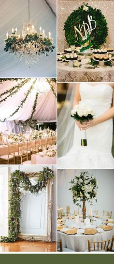 natural greenery and gold glamour wedding colors