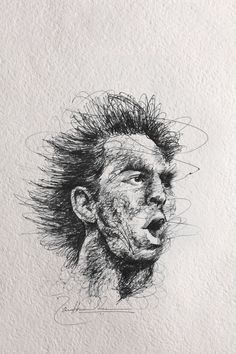 Lionel Messi drawing. Pen on paper,