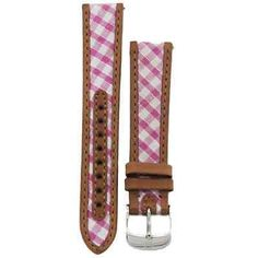 Michele 18mm Pink Gingham Canvas Leather Strap MS18AA640650 CSX Deco Caber