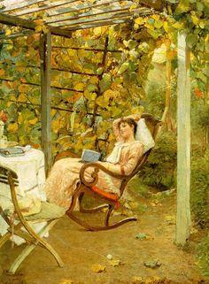 Oscar Bluhm (peintre allemand, 1867-1912), Dans la pergola (1894)