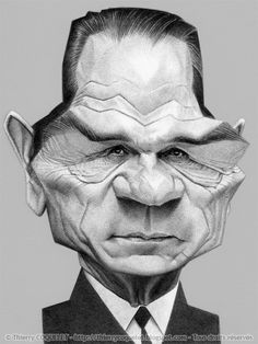Tommy Lee Jones, by Thierry Coquelet. Ballpoint on paper.