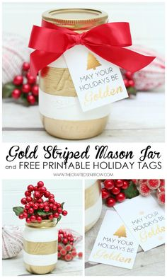 Gold Striped Mason Jar + Free Printable Holiday Tags - thecraftedsparrow.com